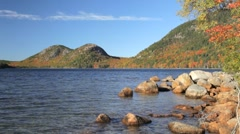 Jordan Pond and The Bubbles, Acadia National Park autumn Stock Footage