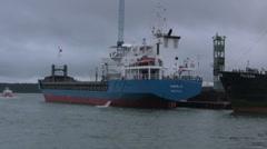 Cargo ship Daniel K. Delfzijl tied up at the docks Stock Footage