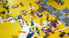Lego constructor is cleaned after ROBOFEST-2011 Stock Footage