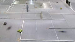 Little car race across ramps during Moscow Hobby Expo Stock Footage