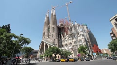 Barcelona Spain Sagrada Familia street traffic P HD 083 Stock Footage