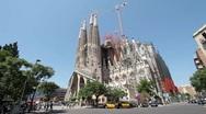 Barcelona Spain Sagrada Familia street traffic P HD 083 Stock Footage