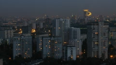 Sokolniki District at night, view from roof Stock Footage