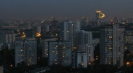 Stock Video Footage of Sokolniki District at night, view from roof