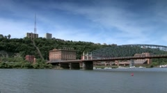 Duquesne Incline seen from Monongahela river Stock Footage