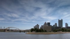 Pittsburgh Skyline and Point State Park seen from three rivers area Stock Footage
