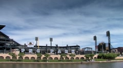 PNC park seen from Allegheny river Stock Footage