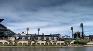 Stock Video Footage of PNC park seen from Allegheny river