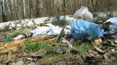 Panorama of trash in forest, time lapse Stock Footage