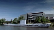 Stock Video Footage of Carnegie Science Center and Submarine seen while passing by on the river