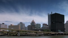Pittsburgh Skyline seen from Monongahela river Stock Footage