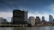 Stock Video Footage of Pittsburgh Skyline seen from Monongahela river