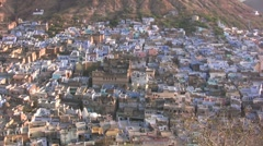 Aerial view of beautiful Indian town in early morning Stock Footage
