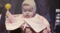 Pretty Young Mother and Baby with Rattle 1940s Vintage Film Home Movie 212 Stock Footage