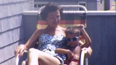 Pretty Young Mother and Son Sitting Together 1950s Vintage Film Home Movie 210 Stock Footage