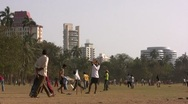 Cricket field in Mumbai (Bombay) in India Stock Footage