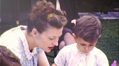 No! Fussy Eater Mother Feeds Son Little Boy 1950s Vintage Film Home Movie 202 Stock Footage