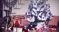 Christmas Tree Presents and TV Living Room 1960s Vintage Film Home Movie 222 Footage