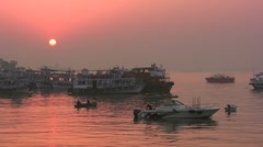 Sunrise in Mumbai port, harbor, peaceful, color, Bombay, India - stock footage