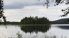 Island on the lake - stock footage