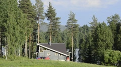 Small house in the forest Stock Footage