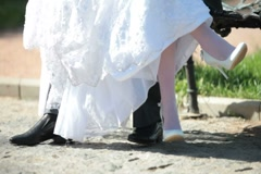 Feet of bride and groom Stock Footage