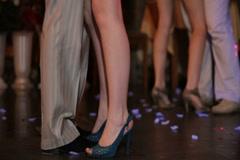 Dancing couple feet Stock Footage