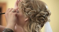 Stock Video Footage of Bride getting make up