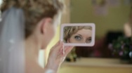Stock Video Footage of face of bride in  mirror