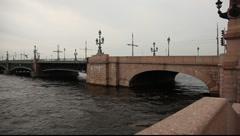Skyline Neva river panorama from Liteyniy bridge to the Vasilievsky Island Stock Footage