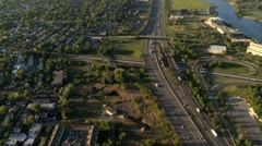 Aerial view of New Jersey Freeway, and suburbs, NY, USA Stock Footage