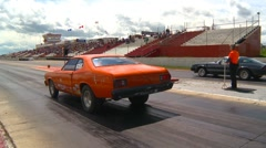 Motorsports, Drag Racing 2011 season #33, orange Dodge Duster race Stock Footage