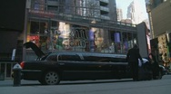 Stretched Limo in Business district, NYC Stock Footage