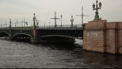 Panning shot of the Neva river near Petropavlovskaya fortress. Stock Footage