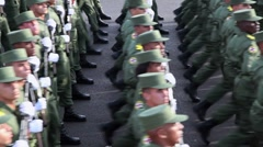 Army and troops marching in Havana, Cuba Stock Footage