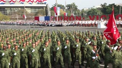 Military parade and celebration with infantry in Cuba Stock Footage