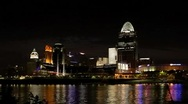 Stock Video Footage of Cincinnati riverfront skyline at night