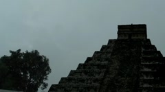 Mayan Doomsday Pyramid in Rain Thunder and Lightning Storm + audio - stock footage