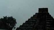 Stock Video Footage of Mayan Doomsday Pyramid in Rain Thunder and Lightning Storm + audio
