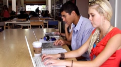 Students Working on Laptops in the Library Stock Footage