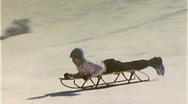 KIDS Downhill Sledding Sled WINTER FUN Sport 1950s Vintage Film Home Movie 265 Stock Footage