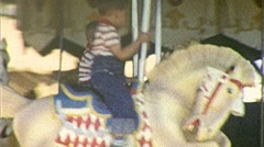 TWIN BROTHERS Ride Merry Go Round Kids 1950s Vintage Film Home Movie 264 Stock Footage