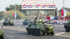 Cuban tanks and armored vehicles at parade in Havana - stock footage