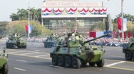 Stock Video Footage of Cuban tanks and armored vehicles at parade in Havana