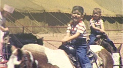 Little KIDS Ride Pony Children Ride HORSES Fun 1960s Vintage Film Home Movie 261 Stock Footage