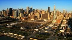 Aerial view of Midtown Manhattan, New York City, America, USA Stock Footage
