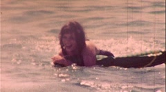 Woman At the Beach Floating Happy in the Surf 1950s Vintage Film Home Movie 253 Stock Footage