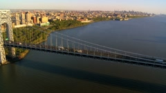 Aerial view of the George Washington Suspension Bridge, New York, USA - stock footage