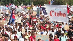 Crowd of people celebrating and marching in Havana, Cuba Stock Footage