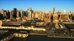 Aerial view of Midtown Manhattan, New York City, America, USA Stock Footage